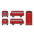 vintage red minibus mockup vector image