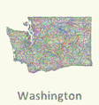 Washington line art map vector image vector image
