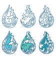 water wave line in droplet shape color set vector image vector image