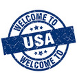 welcome to usa blue stamp vector image vector image