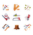 wood chopping instruments and equipment with saw vector image