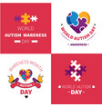 world autism awareness day mental disorder emblems vector image