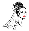 young beautiful bride vector image vector image