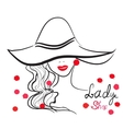 hand drawn portrait of stylish girl in hat Good vector image