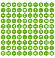 100 gas station icons hexagon green vector image vector image