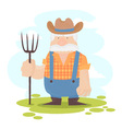 A funny farmer cartoon character vector image