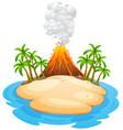 a volcano eruption island vector image