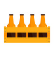 basket of bottle beer icon flat style vector image vector image