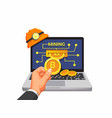 bitcoin mining hand take coin from laptop vector image vector image