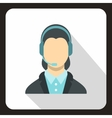 Call center operator icon flat style vector image vector image