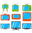 cartoon colorful 9 tv element set vector image
