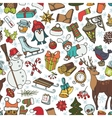 Christmas seasonDoodle symbols in seamless vector image vector image