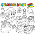 coloring book with christmas theme vector image