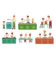 cooks children kids baking or cooking food vector image vector image