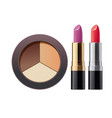 cosmetic powder and lipstick on white 3d vector image vector image