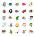 cottage icons set isometric style vector image vector image