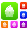 cupcake set color collection vector image vector image