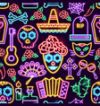 day dead neon seamless pattern vector image