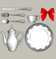 dinnerware cutlery and red bow in old style vector image vector image