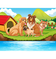 Dogs sitting by the river vector image vector image