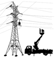 Electrician making repairs at a power pole vector image vector image