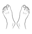 feet men top view from the contour black lines on vector image