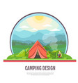 flat design of mountains landscape and camping vector image vector image