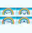 four scenes airplane flying in sky with vector image vector image