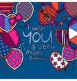 Happy birthday greeting card Patterned balloons vector image vector image