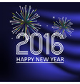 happy new year 2016 on dark blue wave color vector image