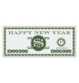 happy new year dollar bill design vector image