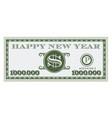 happy new year dollar bill design vector image