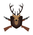 Hunting trophy Deer head with 2 crossed shotguns vector image vector image