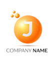 j letter splash orange dots and circle bubble vector image vector image
