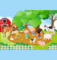 kids and farm animals in the farm vector image