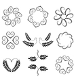 Laurel wreath heart tattoo set Wheats swirl vector image vector image