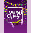 mardi gras handwritten text greeting card vector image