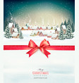 merry christmas background with red gift bow and vector image vector image
