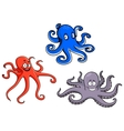 Red blue and purple octopus vector image vector image