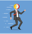 running businessman with head clock coin vector image
