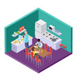 shared kitchen in an international hostel vector image vector image
