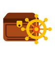 treasure chest ship helm maritime vector image
