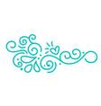 turquoise monoline scandinavian folk flourish vector image
