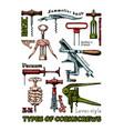 types corkscrews vector image vector image