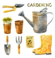 watercolor gardening set vector image vector image