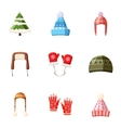 Winter outfits icons set cartoon style vector image vector image