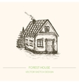Wood house in retro sketch style vector image vector image