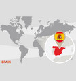 world map with magnified spain vector image