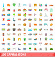 100 capital icons set cartoon style vector image vector image