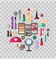 beauty store with cosmetic objects mascara gloss vector image vector image